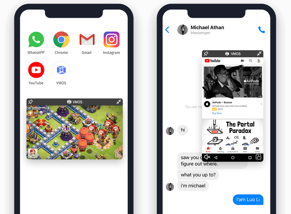 Open virtual phone and real phone at the same time on the same screen.